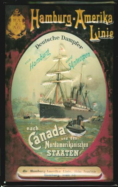 Blechschild Hamburg America Line Dampfsegler Canada Schiff Schild Nostalgieschild