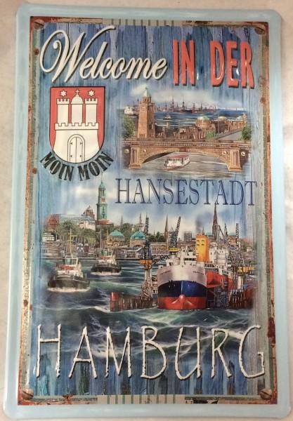 Blechschild Nostalgieschild Hamburg Welcome Moin Moin Hansestadt