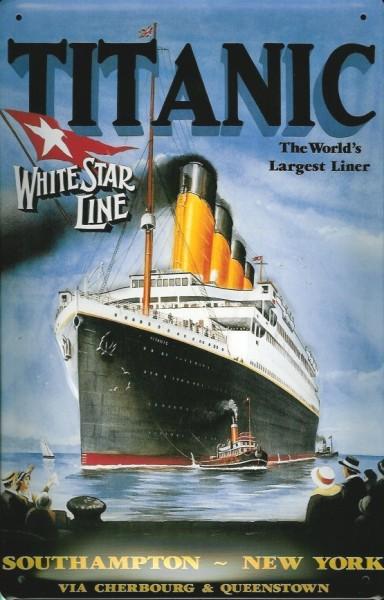 Blechschild Titanic World's largest liner Southampto New York Dampfer Reedereiplakat Schiff Schild