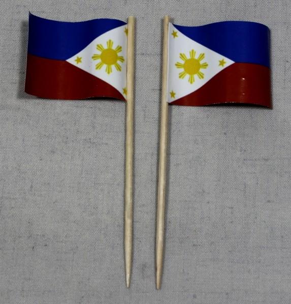Party-Picker Flagge Philippinen Papierfähnchen in Spitzenqualität 50 Stück Beutel