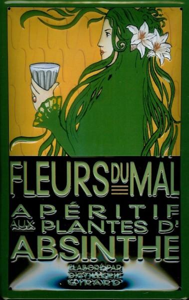 Blechschild Absinthe Fleurs Du Mal Absinth retro Schild Nostalgieschild für Kneipe