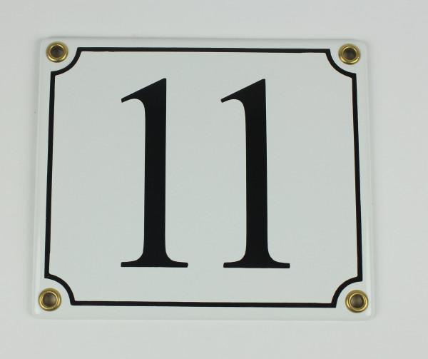 11 weiß / schwarz 14x12 cm sofort lieferbar Schild Emaille Hausnummer