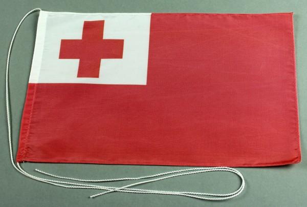 Tischflagge Tonga 25x15 cm optional mit Holz- oder Chromständer Tischfahne Tischfähnchen