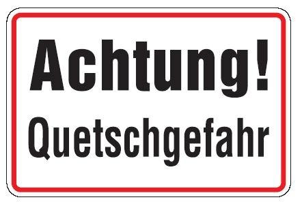 Aluminium Schild Achtung! Quetschgefahr 200x300 mm geprägt