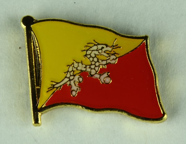 Bhutan Pin Anstecker Flagge Fahne Nationalflagge