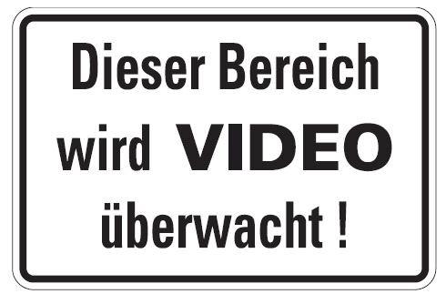 Aluminium Schild Dieser Bereich wird VIDEO überwacht 200x300 mm geprägt