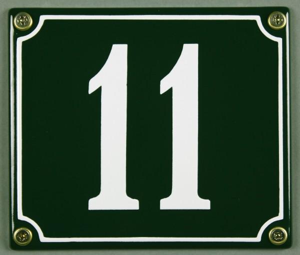 Hausnummernschild 11 grün 12x14 cm sofort lieferbar Schild Emaille Hausnummer Haus Nummer Zahl Ziffe