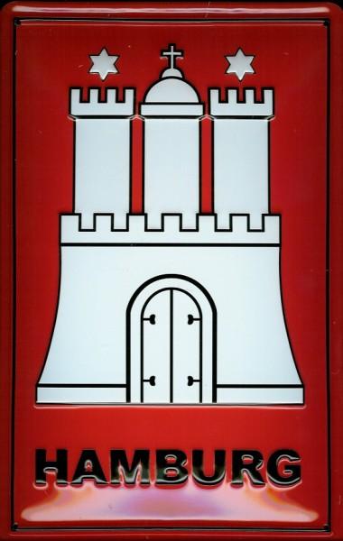 Blechschild Nostalgieschild Hamburg Wappen Stadtwappen