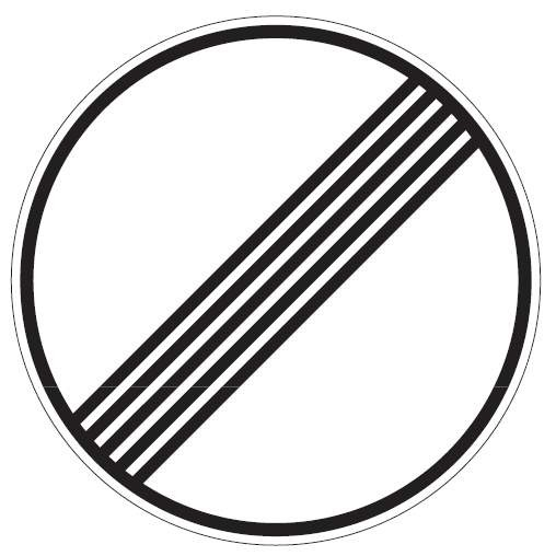 Verkehrsschild / Verkehrszeichen Ende sämtlicher Streckenverbote 420 mm rund Aluminium reflektierend