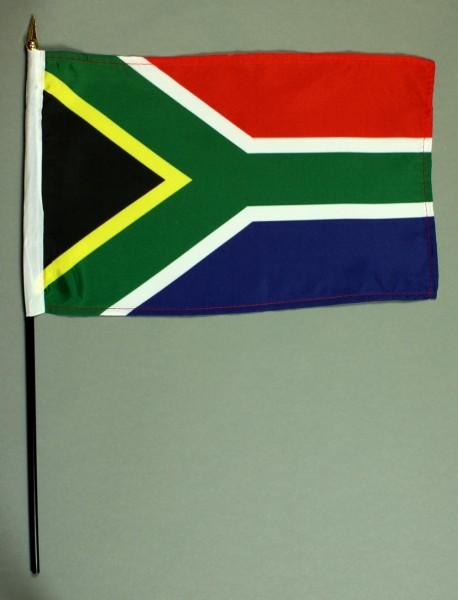 Tischflagge Südafrika 20x30 cm optional mit Tischflaggenständer aus Mahagoni Holz