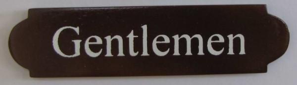 Eckiges Holz - Türschild Gentlemen 3x12 cm dunkles Holzschild