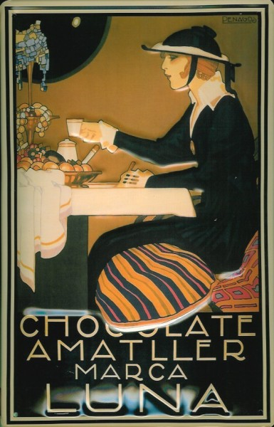 Blechschild Chocolate Amattler Luna Schokolade retro Schild Nostalgieschild