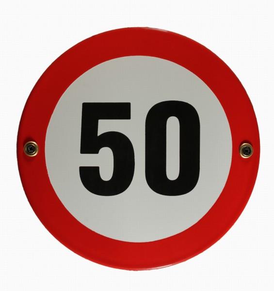 Emaille Schild Tempo 50 Verkehrszeichen Verkehrsschild Geburtstagsschild Emailleschild Verbotsschild