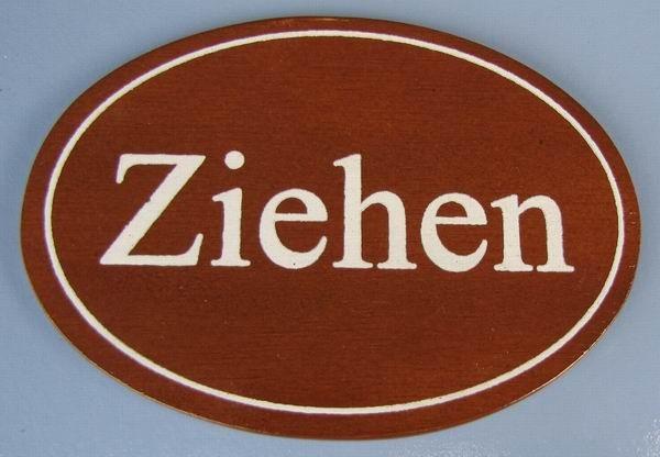 Ovales Holz - Türschild Ziehen 7x10 cm dunkles Holzschild
