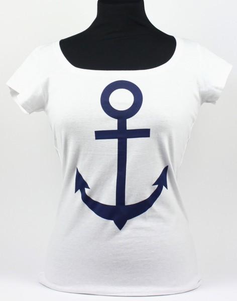 T-Shirt weiß mit Anker Motiv blau Damen Shirt