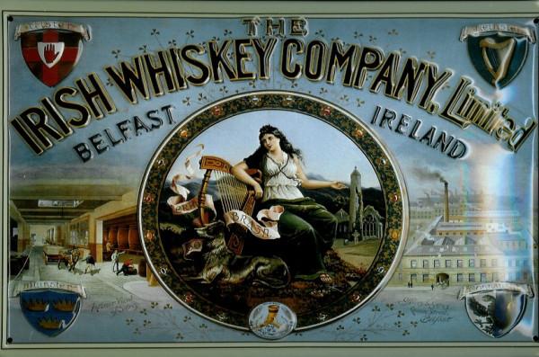 Blechschild Irish Whiskey Company Belfast Retro Whisky Schild Kneipenschild