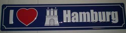 Strassenschild I Love Hamburg aus Stahlblech 46x10 cm Schild Souvenir Andenken