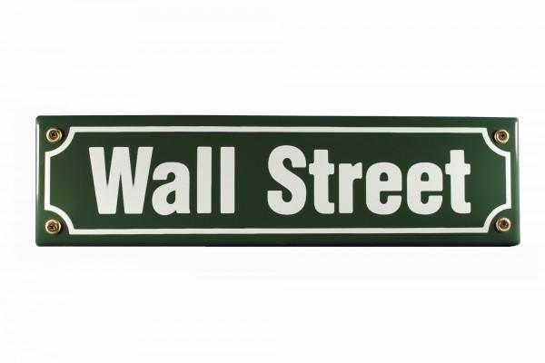 Strassenschild Wall Street 30x8 cm New York Börse Souvenir Email Strassen Schild Emaille