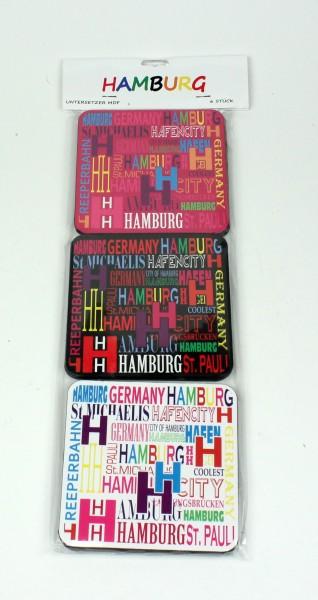Hamburg Untersetzer Set bunt 6-teilig