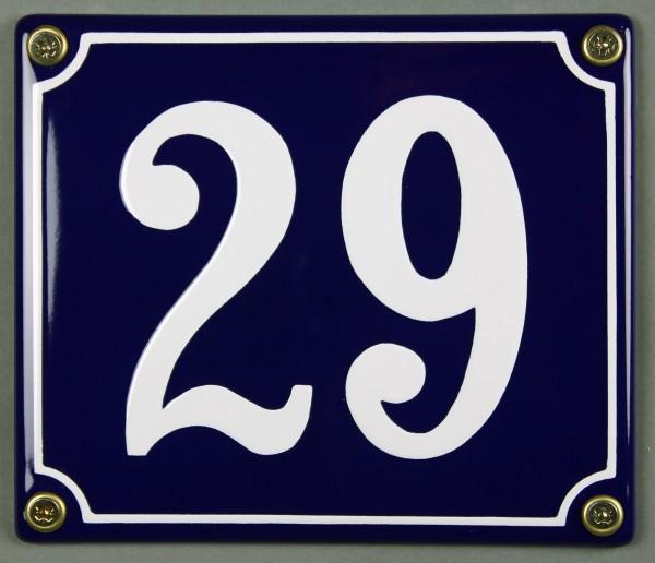 Hausnummernschild Emaille 29 blau - weiß 12x14 cm sofort lieferbar Schild Emaile Hausnummer Haus Num