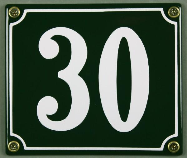 Hausnummernschild 30 grün 12x14 cm sofort lieferbar Schild Emaille Hausnummer Haus Nummer Zahl Ziffe