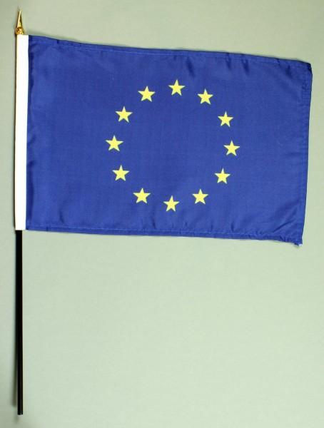 Tischflagge Europa Europarat 20x30 cm optional mit Tischflaggenständer aus Mahagoni Holz