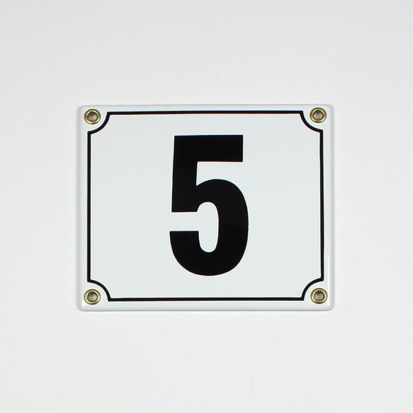 5 weiß Blockschrift 14x12 cm sofort lieferbar 2-stellig Schild Emaille Hausnummer