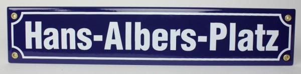 Strassenschild Hans-Albers-Platz 40x8 cm Hamburg Souvenir Emaille Schild