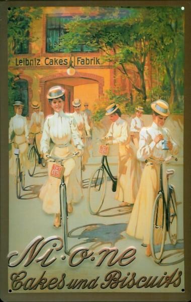 Blechschild Leibniz Nione Cakes and Biscuits Damen Fahrrad Schild Werbeschild