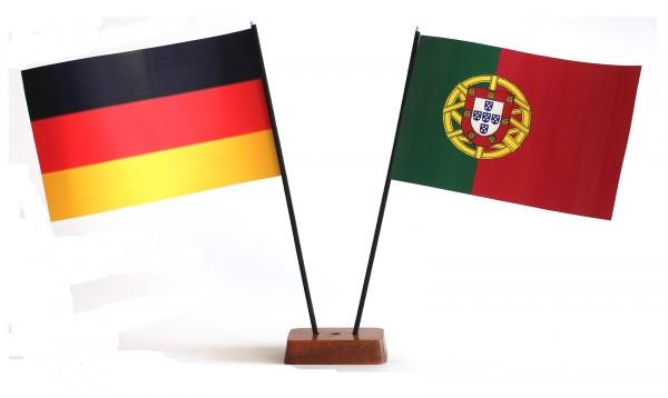 Mini Tischflagge Portugal 9x14 cm Höhe 20 cm mit Gratis-Bonusflagge und Holzsockel Tischfähnchen