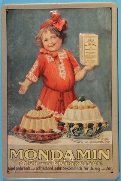 Blechschild Mondamin Milch + Eierspeisen Pudding Kind Schild Werbeschild