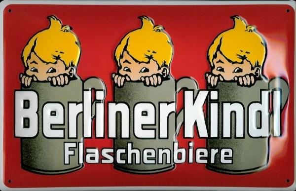 Blechschild Berliner Kindl Flaschenbiere rot Bier retro Reklame Schild Nostalgieschild