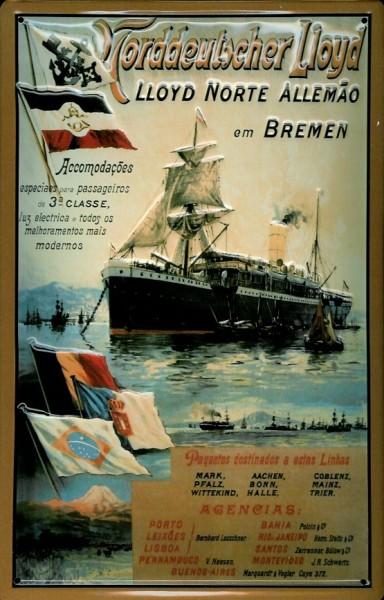 Blechschild Norddeutscher Lloyd Bremen Dampfsegler Norte Allemao Dampfer Schiff Schild Nostalgieschi