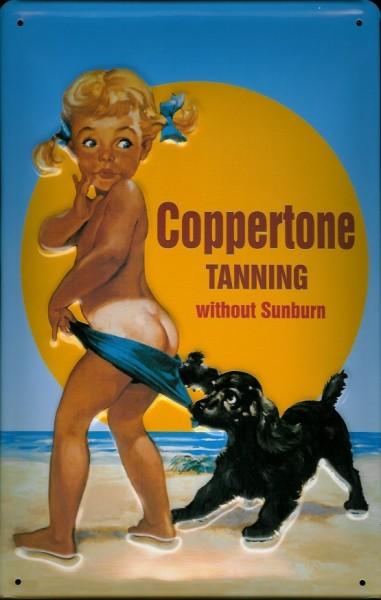 Blechschild Coppertone Tanning Kind mit Hund am Strand Sonnencreme Schild retro Werbeschild Nostalgi
