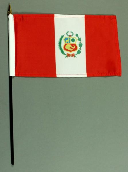 Tischflagge Peru 15x25 cm BASIC optional mit Tischflaggenständer