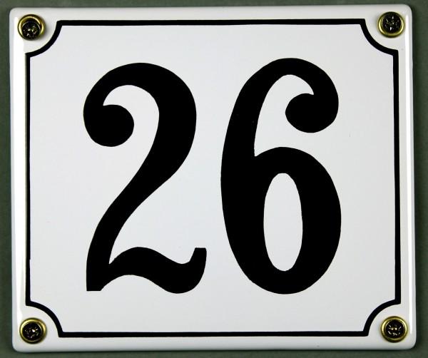Hausnummernschild 26 weiß 12x14 cm sofort lieferbar Schild Emaille Hausnummer Haus Nummer Zahl Ziffe