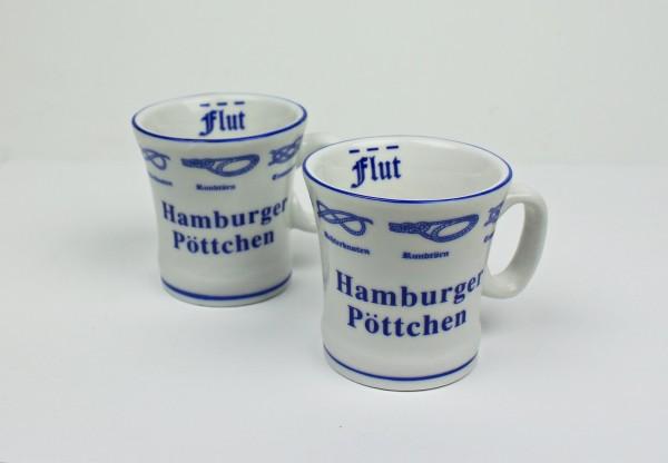 2er Set Hamburger Pöttchen mit Seemannsknoten hoch Pott Mini Becher Schnaps Schnapsglas