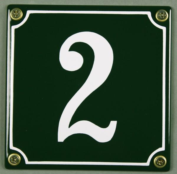Hausnummernschild 2 grün 12x12 cm sofort lieferbar Schild Emaille Hausnummer Haus Nummer Zahl Ziffer