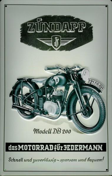 Blechschild Zündapp Modell DB 200 Nostalgieschild Motorrad