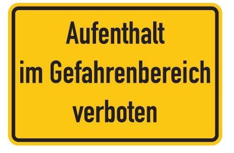Aluminium Schild Aufenthalt im Gefahrenbereich verboten 200x300 mm geprägt