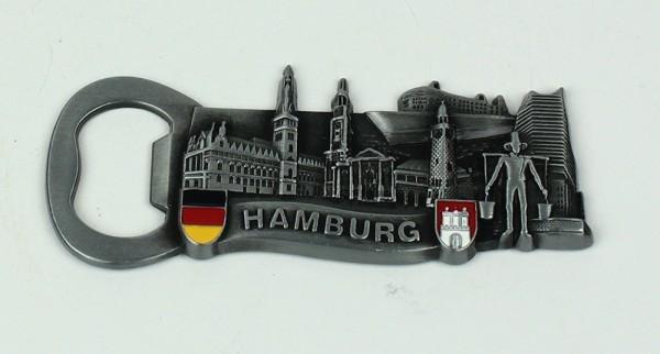 Magnet Hamburg Wahrzeichen Flaschenöffner silber Souvenir Hummel Rathaus Schiff Michel Elbphilharmon