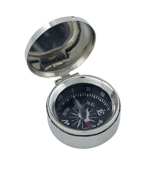Kompass klein mit Deckel Messing vernickelt