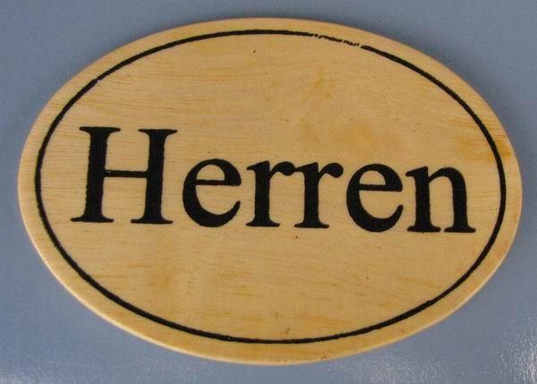 Ovales Holz - Türschild Herren 7x10 cm helles Holzschild Toilette