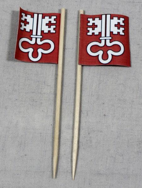 Party-Picker Flagge Nidwalden Kanton Schweiz Papierfähnchen in Spitzenqualität 50 Stück Beutel