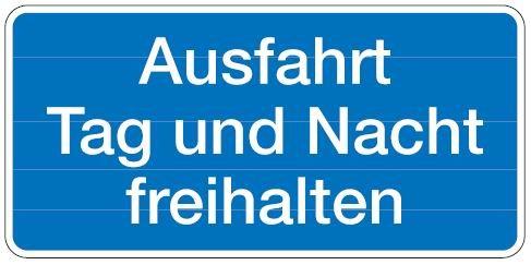 Aluminium Schild Ausfahrt Tag und Nacht freihalten 170x350 mm geprägt