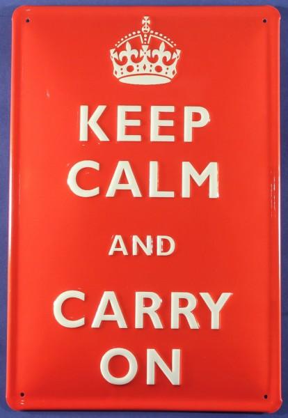 Blechschild Keep Calm And Carry On Schild Metallschild