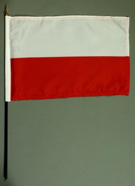 Tischflagge Polen 20x30 cm optional mit Tischflaggenständer aus Mahagoni Holz