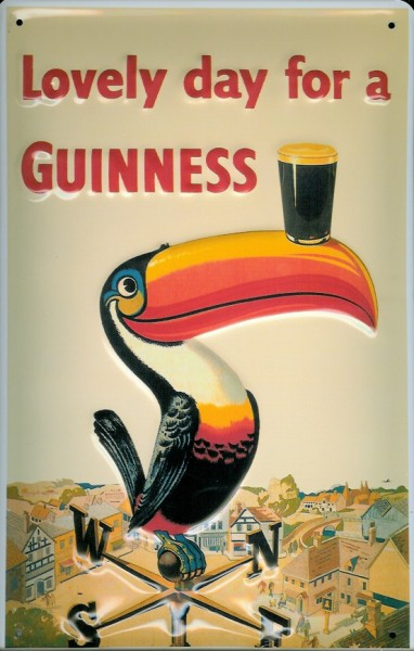 Blechschild Guinness Bier Lovely Day Toucan Wetterfahne Tukan Schild
