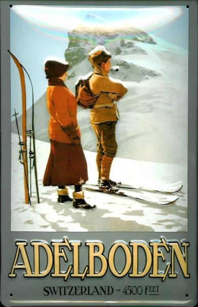 Blechschild Adelboden Switzerland Schweiz Berge Ski Blech Schild Souvenir Andenken