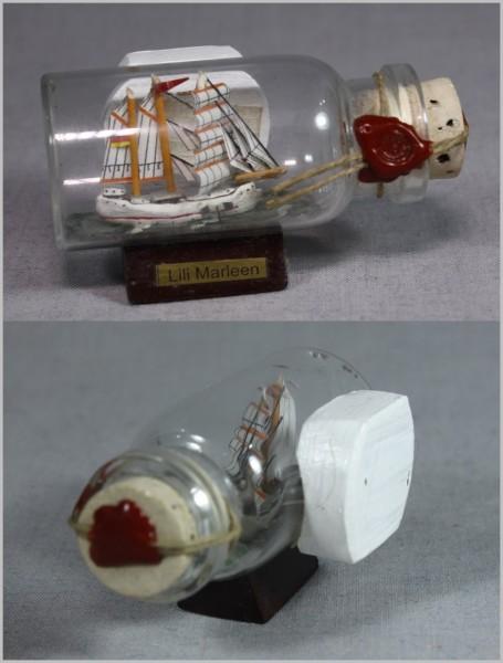 Buddelschiff Lili Marleen 5x2 cm Kühlschrankmagnet mit 10x3 mm Neodym Magnet Souvenir